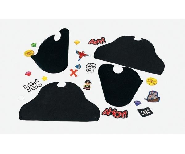 Activités Pirate ~Set de 4 chapeaux de Capitaine de Pirate en mousse à décorer~