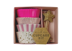 Cupcakes ~Kit pour cupcakes moules et toppers - Rose~