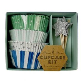 Cupcakes ~Kit pour cupcakes avec Moules et Toppers - Bleu & argent~