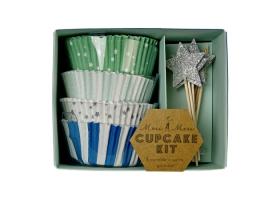 Cupcakes ~Kit pour cupcakes Moules et Toppers - bleu & argent~