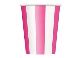 Pink Lollipop ~Set de 6 gobelets rayés rose et blanc~