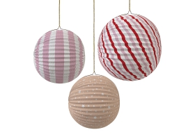 Toot Sweet Paper Globe Blue Stripes and Stars Party Decorations ~Pack of 3 paper lanterns~