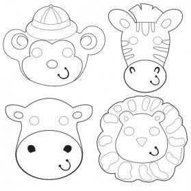 Activités anniversaire - Set de 12 masques animaux de la Jungle à colorier
