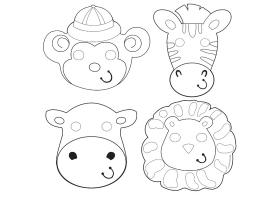 Activités ~Set de 12 masques animaux de la Jungle~