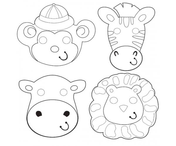 Activités Anniversaire Set De 12 Masques Animaux De La Jungle à Colorier