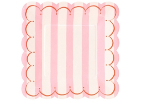 Toot Sweet Aqua Stripe ~Pack of 8 plates~