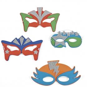 Set de 4 masques de Supers Héros avec des paillettes argentées