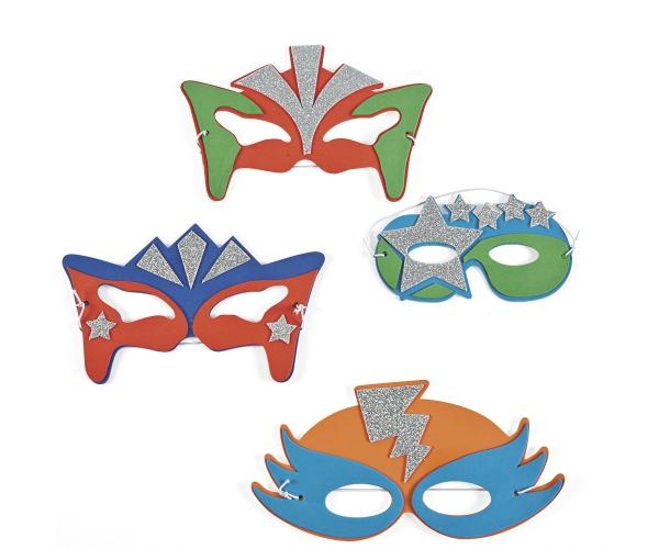 Super Héros ~Set de 4 masques de Supers Héros avec des paillettes argentées~