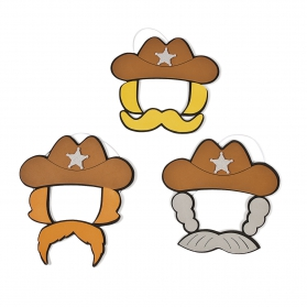 Far West Activities ~Create your own - Cowboy Hat and Mustache Craft Kit - Pack of 3~