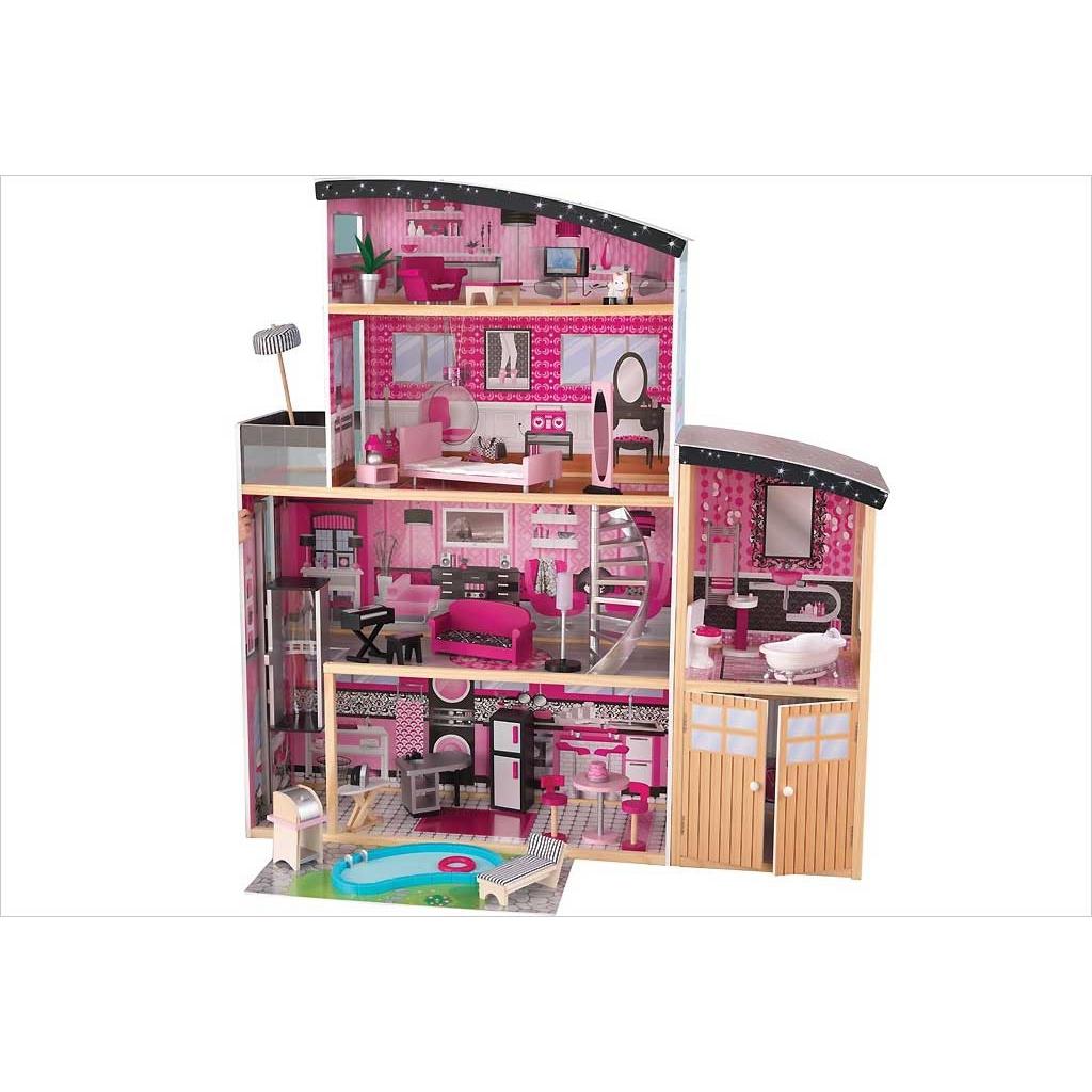 grande maison de poup e en bois villa sparkle r ves. Black Bedroom Furniture Sets. Home Design Ideas