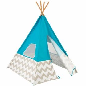 Tente Tipi d'indien bleu à chevrons gris et blanc