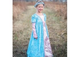 Robe de Princesse bleu, argent et rose avec sa coiffe