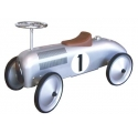 Voiture de course porteur en métal argent