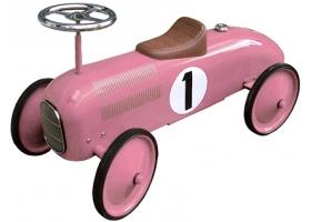 Voiture de course porteur en métal rose