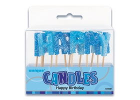 Bougies ~Set de bougies Happy Birthday bleu~