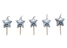 Bougies ~Set de bougies étoiles argentées~