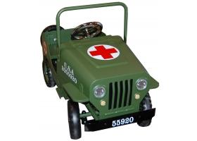 Voiture à pédales Jeep US en métal kaki