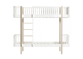 Oak Bunkbed with Front Ladder 90 x 200 - Natural