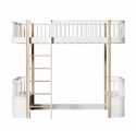 Oak WOOD Loft bed with Front Ladder 90 x 200 - Natural