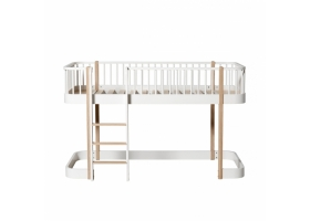 Oak WOOD Low Loft bed with Front Ladder 90 x 200 - Natural