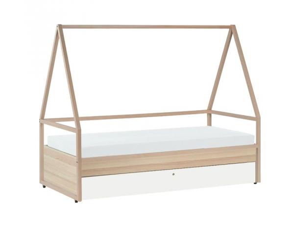 8b3d8c4a544eba Lit cabane enfant Spot de la marque VOX en bois clair avec lit gigogne