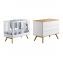 Pack Duo : Baby Bed 60 x 120 + Dresser With Changing Table Nature - White