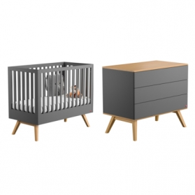 Pack Duo : Baby Bed 60 x 120 + Dresser With Changing Table Nature - Grey