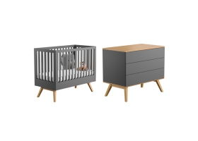 Pack Duo : Lit bébé 60 x 120 + Commode à langer Nature - Gris