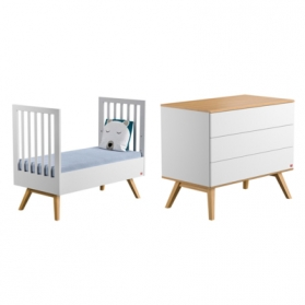 Pack Duo : Lit bébé évolutif 70 x 140 + Commode à langer Nature - Blanc
