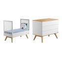 Pack Duo : Baby Bed 70 x 140 + Dresser With Changing Table Nature - White