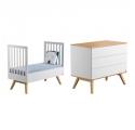 Pack Duo : Lit bébé évolutif 70 x 140 + Commode à langer Nature - Blanc