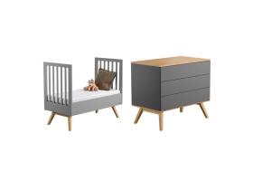 Pack Duo : Lit bébé évolutif 70 x 140 + Commode à langer Nature - Gris