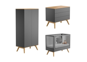 Pack Trio : Baby Bed 60 x 120 + Dresser With Changing Table + Wardrobe Nature - Grey