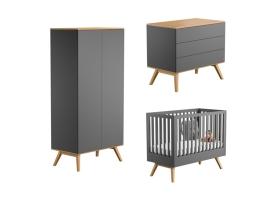Pack Trio Chambre complète Nature : Lit bébé 60 x 120 + Commode à langer + Armoire - Gris