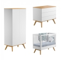 Pack Trio : Baby Bed 60 x 120 + Dresser With Changing Table + Wardrobe Nature - White