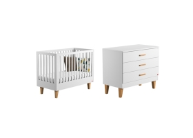 Pack Duo : Baby Bed 60 x 120 + Dresser With Changing Table Lounge - White
