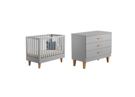 Pack Duo : Baby Bed 60 x 120 + Dresser With Changing Table Lounge - Grey