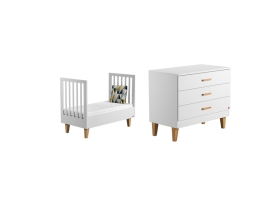 Pack Duo : Lit bébé 70 x 140 + Commode à langer Lounge - Blanc