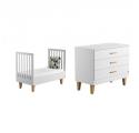 Pack Duo : Lit bébé 70 x 140 + Commode à langer Lounge - Blanc