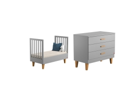 Pack Duo : Baby Bed 70 x 140 + Dresser With Changing Table Lounge - Gris
