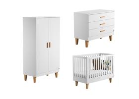 Pack Trio Chambre complète Lounge : Lit bébé 60 x 120 + Commode à langer + Armoire - Blanc
