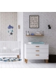 Pack Trio : Baby Bed 60 x 120 + Dresser With Changing Table Lounge + 2 WARDROBE - White