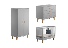 Pack Trio Chambre complète Lounge : Lit bébé 60 x 120 + Commode à langer + Armoire - Gris