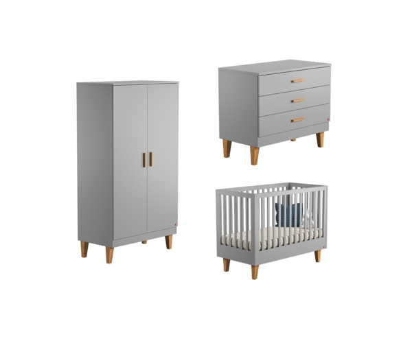Pack Trio : Baby Bed 60 x 120 + Dresser With Changing Table Lounge + 2 WARDROBE - Grey