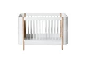 Lit bébé évolutif 5 en 1 - MINI + WOOD - Blanc/Chêne