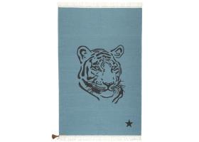 Tapis Varanassi Gypsy en coton - Tigre bleu