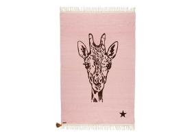 Tapis Varanassi Gypsy en coton - Girafe rose