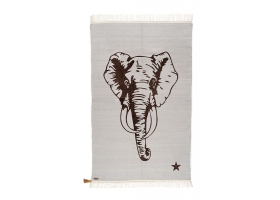 Tapis Varanassi Gypsy en coton - Eléphant gris