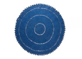 Tapis Varanassi Gypsy rond en coton bleu