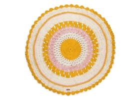 Tapis Varanassi Gypsy rond en coton Mix rose